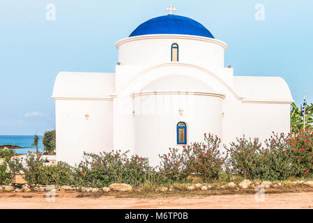 The multi Denominational Church of St Nicholas on a shore closeup in Paphos, Cyprus. - Stock Photo
