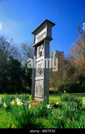 Lavenham village sign outside the parish church of St Peter and St Paul, Lavenham village, Suffolk County, England, - Stock Photo