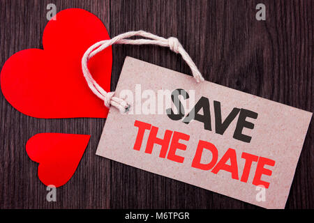 Handwriting Announcement text showing Save The Date. Business concept for Wedding Anniversary Invitation Reminder - Stock Photo