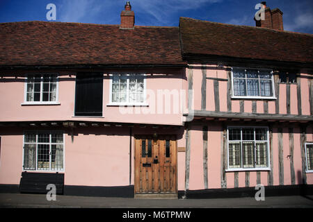 Colorful half timber framed thatched cottages, Lavenham village, Suffolk County, England, UK - Stock Photo