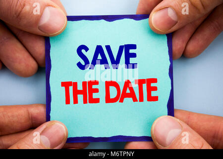 Handwriting Announcement text showing Save The Date. Business photo showcasing Wedding Anniversary Invitation Reminder - Stock Photo