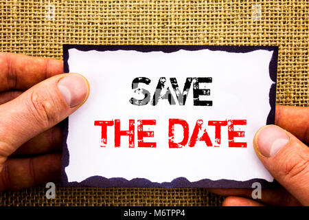 Writing text showing  Save The Date. Concept meaning Wedding Anniversary Invitation Reminder written Sticky Note - Stock Photo