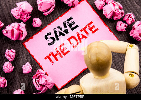 Conceptual hand text showing Save The Date. Concept meaning Wedding Anniversary Invitation Reminder written Sticky - Stock Photo