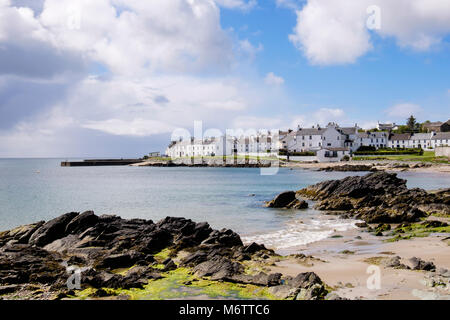 View along rocky Scottish island coast of Loch Indaal to Port Charlotte, Isle of Islay, Argyll and Bute, Inner Hebrides, - Stock Photo