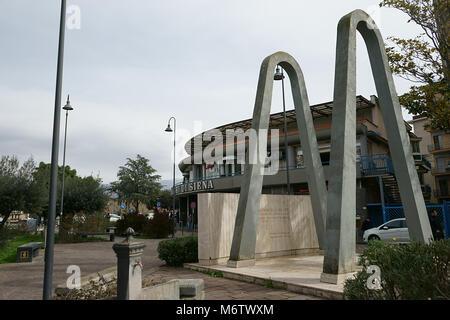 Piazza Guglielmo Marconi - Via Principessa Margherita, Monumento ai caduti sul lavoro, City of Nola, Italy - Stock Photo