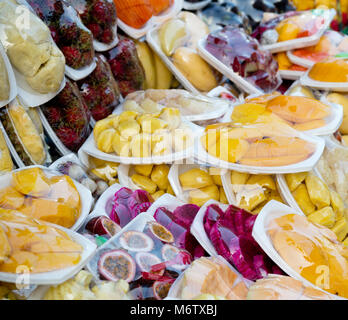 Sliced fruits in plastic bags - Stock Photo