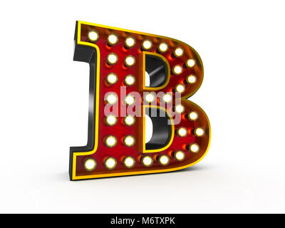High quality 3D illustration of the letter B in Broadway style with light bulbs illuminating it over white background - Stock Photo