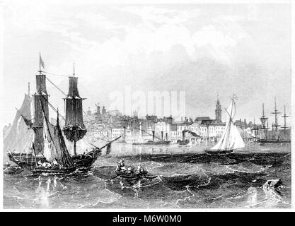 An engraving of Gravesend scanned at high resolution from a book printed in 1851. Believed copyright free. - Stock Photo
