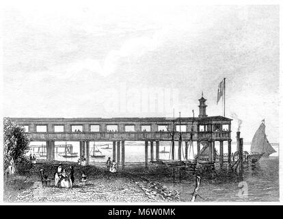 An engraving of Terrace Pier, Gravesend scanned at high resolution from a book printed in 1851. Believed copyright - Stock Photo
