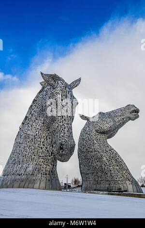 The Kelpies Statues in Helix Park Falkirk Scotland - Stock Photo