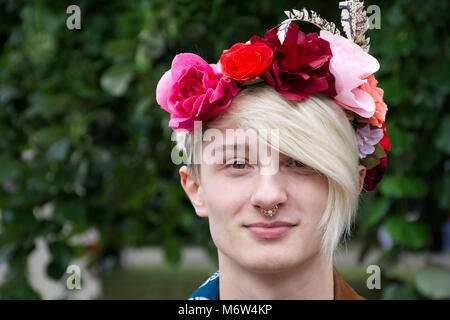 Breaking male gender stereotype,Transgender Uk,LGBT.Man wearing makeup.LGBT Pride event,Stoke on Trent,Staffordshire,United - Stock Photo