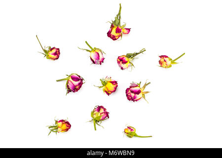 Floral pattern made of red and yellow roses, green leaves, branches on white background. Flat lay, top view. Valentine's - Stock Photo
