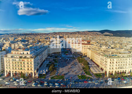 Thessaloniki, Greece - Aerial view of famous Aristotelous Square in Thessaloniki city shortly before sunset, Greece