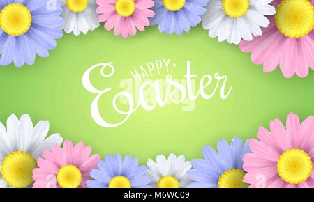 Banner for Happy Easter. Multicolored flowers of chamomile. Seasonal background. Vector illustration. EPS 10 - Stock Photo
