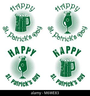 Wooden beer mug, beer glass goblet on a background of diverging rays and greeting inscription. Happy St. Patricks - Stock Photo
