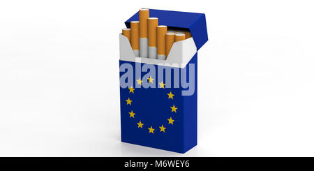 Smoking cigarettes in EU. European Union flag on a cigarette packet isolated on white background. 3d illustration - Stock Photo
