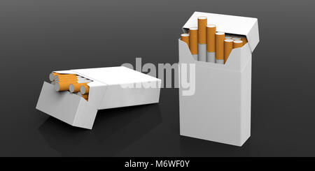 Smoking concept. Blank no name cigarettes packets isolated on black background, space for text. 3d illustration - Stock Photo