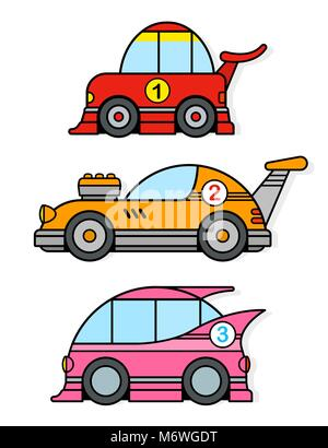 Three different colorful cartoon racing toy cars in red, yellow and pink isolated on white for kids motor racing - Stock Photo