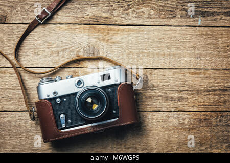 Old vintage film photo camera - Stock Photo