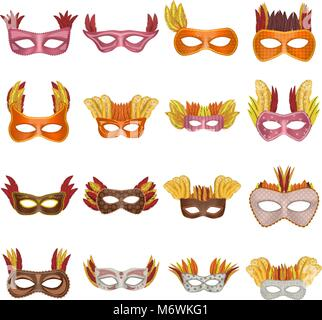 Carnival mask venetian mockup set, realistic style - Stock Photo