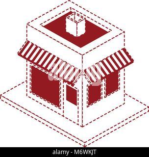 store building isometric icon - Stock Photo