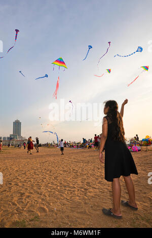 Vertical view of people kite-flying on Galle Face Green in Colombo, Sri Lanka. - Stock Photo