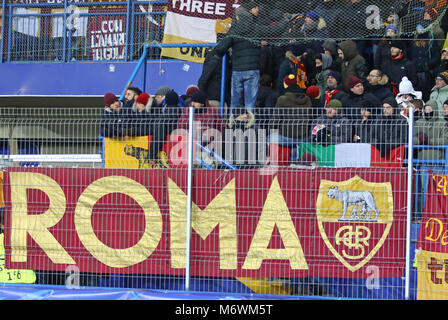 KHARKIV, UKRAINE - FEBRUARY 21, 2018: AS Roma supporters show their support during UEFA Champions League Round of - Stock Photo