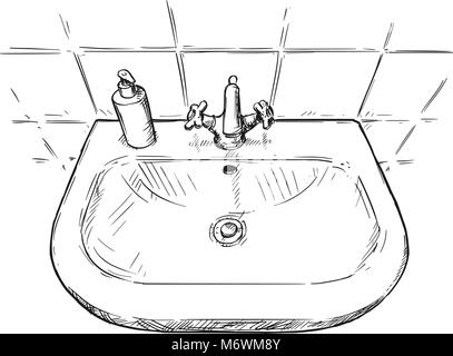 Vector Hand Drawing Of Sink In Bathroom