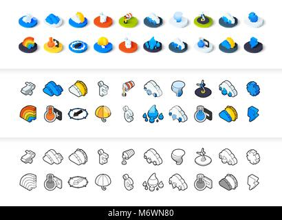 Set of icons in different style - isometric flat and otline, colored and black versions - Stock Photo