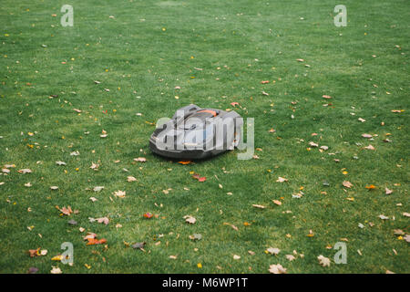 Lawn mower on background of trimmed green lawn - Stock Photo