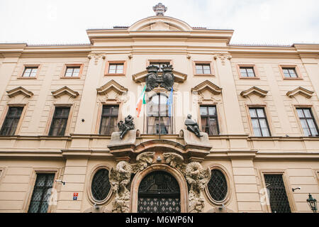 Prague, October 28, 2017: Bottom view - beautiful old building of the Italian Embassy in Prague - Stock Photo