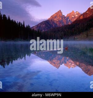 Sunrise, String Lake, The Cathedrals, Grand Teton National Park, Wyoming - Stock Photo