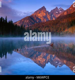 String Lake, Mount Teewinot, The Cathedrals, Grand Teton National Park, Wyoming - Stock Photo