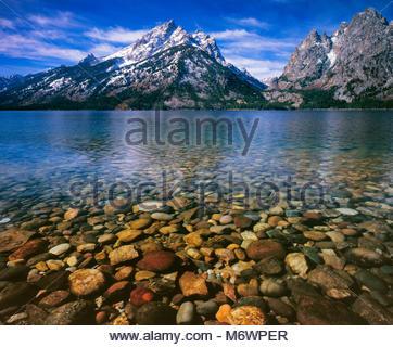 Jenny Lake, Cascade Canyon, Mount Teewinot, Grand Teton National Park, Wyoming - Stock Photo