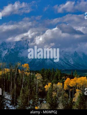 Clearing Storm, Teton Range, Grand Teton National Park, Wyoming - Stock Photo