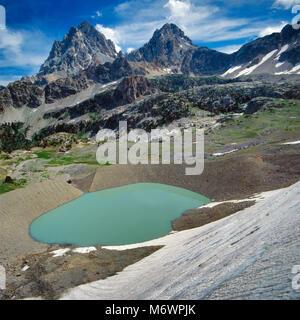 Schoolroom Glacier, Grand and Middle Teton, Grand Teton National Park, Wyoming - Stock Photo