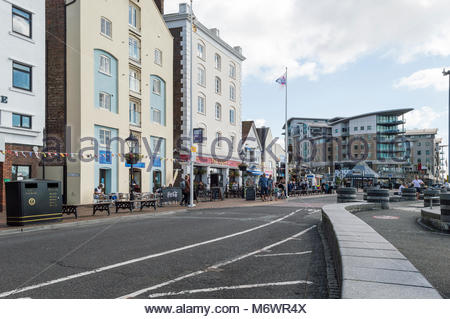 View along the Quay at Poole, Dorset, England, - Stock Photo