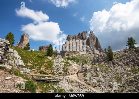 View of Cinque Torri mountains,  italian Alps, Dolomites, Italy. - Stock Photo
