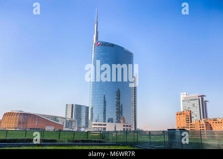 MILAN, ITALY MARCH 28, 2017 - View of the Unicredit Tower and  the Unicredit Pavillion in Gae Aulentis Square, the - Stock Photo