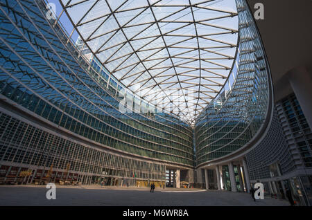 MILAN, ITALY, MARCH 28, 2017. Inner courtyard of Palace of the Regional Government of Lombardy, modern architecture, - Stock Photo