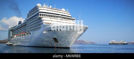 Europe, Greece, The Cyclages, Aegean sea, Santorin island, , cruise ship, - Stock Photo