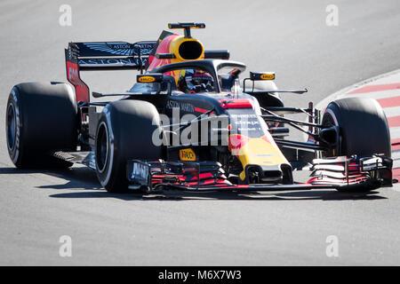 Montmelo, Catalonia, Spain. 7th Mar, 2018. Daniel Ricciardo of RedBull Racing team with Red Bull RB14 seen during - Stock Photo