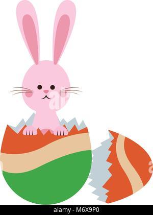 Rabbit breaks easter egg cartoon icon vector illustration graphic design - Stock Photo