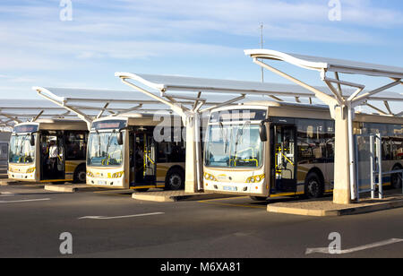 Pretoria, South Africa - March 6, 2018: Public busses waiting in depot. - Stock Photo