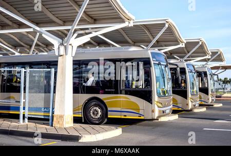 Gautrain public busses waiting in depot. - Stock Photo