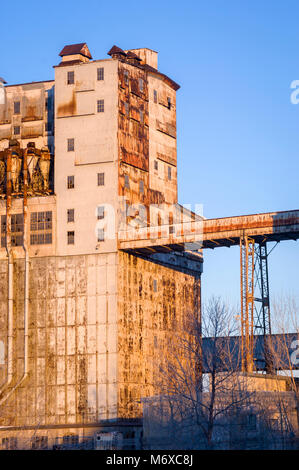Old abandoned Terminal Silos and Elevators in the port of Montreal. - Stock Photo