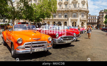 Shiny American Made Cars in Old Havana - Stock Photo
