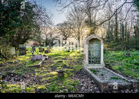 View over Eling Cemetery in evening light, Eling, Hampshire, England, UK - Stock Photo