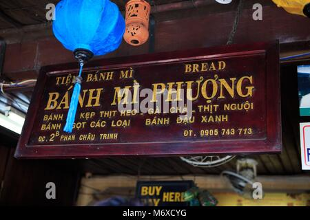 The entrance to the famous Banh Mi Phuong restaurant in Hoi An, Vietnam - Stock Photo