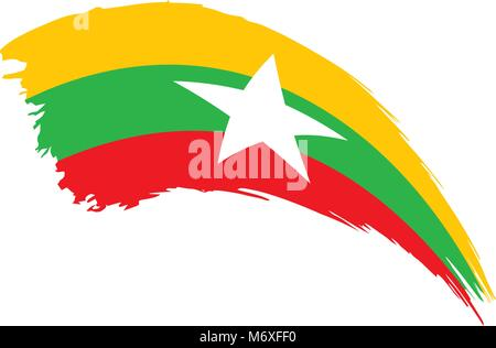 Myanmar flag, vector illustration - Stock Photo